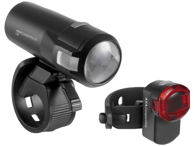 Axa Compactline 20 Akku-Beleuchtungsset LED StVZO black